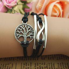 New Retro Silver Tree Infinity Charms Leather Wax Rope Wrap Bracelet DIY Unisex | eBay