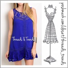 """Royal Beauty Tunic Dress (S,M,L) Beautiful rich royal blue sleeveless dress. Featuring lace ruffle hem, embroidery and crochet lace yoke detail. Made of rayon and fully lined. Key hole closure on back and side zipper closure. Perfect with leggings or a dress extender.  Tank dress   Size S, M, L.  Shift                                                            Small bust 34"""" Medium bust 36"""" Large bust 38""""  Length 33"""" Threads & Trends Dresses"""