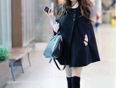 Black women cape Wool Cape Cashmere coat large size cloth/Hooded sweater winter coat cloak cape Dress/jacket Black