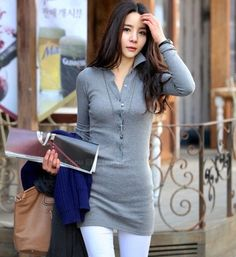 Shirt Collar Slim Fit Gray Women's Long T-Shirt (GRAY,ONE SIZE), Long Sleeves - fashiondresswholesale.com