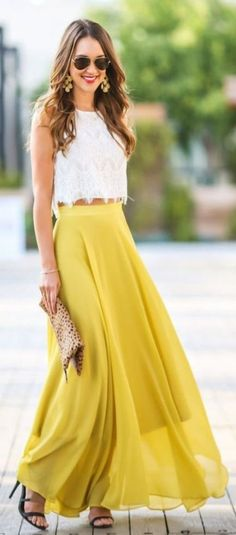 Wedding Outfits for Guest - yellow two pieces prom dress,cheap long prom dress,lace chic evening dress - Cheap Long Dresses, Trendy Dresses, Women's Dresses, Nice Dresses, Evening Dresses, Formal Dresses, Wedding Crop Top, Dress Wedding, Skirt For Wedding Guest