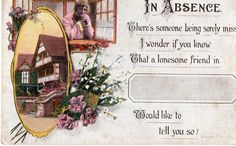 Valentines Song Postcard In Absence House Flowers Woman at Window