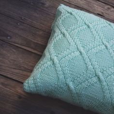 Knit cable pillow case, cable knitted pillow cover, cable knit cushion in mint color