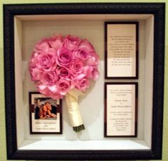 shadow box to keep your wedding bouquet and invitations