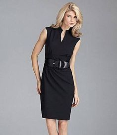 4aa9c47b595 Antonio Melani Nasira Belted V-Neck Dress - Great dress for work. high  wasted pencil skirt suit in black.