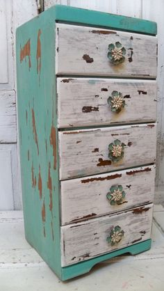 Side table with drawers distressed cottage colors nightstand home decor anita spero