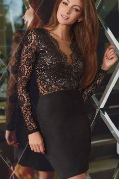 535ff5c1167a Black V Neck Long Sleeve Lace Sequin Accent Party Dress  29.99 Take center  stage in this