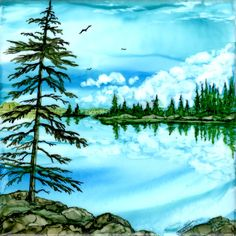 "Calm Waters by Jewel Buhay  Alcohol Ink on 6"" tile"