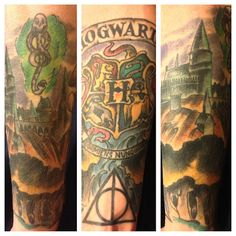 Harry Potter half sleeve done at Iron Heart Tattoo in Des Moines. Beautiful!