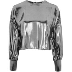 Topshop Lame Balloon Sleeve Blouse ($52) ❤ liked on Polyvore featuring tops, blouses, topshop, silver, stripe blouse, shiny blouse, balloon sleeve tops, party blouses and striped blouse