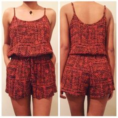 Tribal Print Romper NWOT GREAT FOR THIS SUMMER. ADJUSTABLE STRAPS. PRICE IS FIRM. Pants Jumpsuits & Rompers