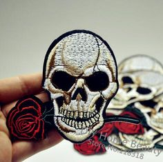 [Visit to Buy] 10.6*9.2 CM 1 PCS Rose Skull Patches for Clothing DIY Stripes parches Iron on Embroidered Clothes Stickers Custom Badges @SS 11 #Advertisement