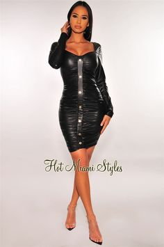 Make an edgy chic statement with a touch of sexy faux leather. Our black button dress is sure to make a statement with long sleeves and a ruched bodice. Black Long Sleeve Dress, Long Sleeve Maxi, Maxi Dress With Sleeves, Faux Leather Fabric, Black Faux Leather, Button Skirt, Hot Miami Styles, Edgy Chic, Lilac Dress
