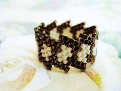 Peyote Ring in Brown and Cream - size 7 Beaded Band Seed Bead Ring Beadwoven Handmade