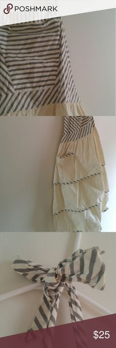 Apron (fancy and practical) Grey/cream striped top with striped neck and waist ties, cream bottom with three tiers of ruffles. Anthropologie Other