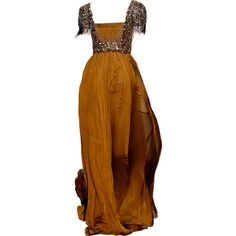 Satinee's collection - Andrew Gn ❤ liked on Polyvore featuring dresses, gowns, long dresses, medieval, brown dress, long brown dress, andrew gn dresses and andrew gn