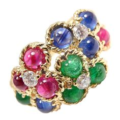 CHRISTIAN DIOR Diamond Emerald Ruby Sapphire Flower Gold RIng