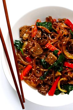 This quick and easy Japchae (Korean Noodle Stir-Fry) recipe takes less than 30 minutes to make, it's easy to customize with whatever veggies and protein you have on hand (or make vegan, if you want to go with tofu or veggies-only), and it's totally delicious. This past weekend, we welcomed our second set of visitors to our …