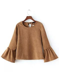 Shop Camel Bell Sleeve Crop Corduroy Blouse online. SheIn offers Camel Bell Sleeve Crop Corduroy Blouse & more to fit your fashionable needs.