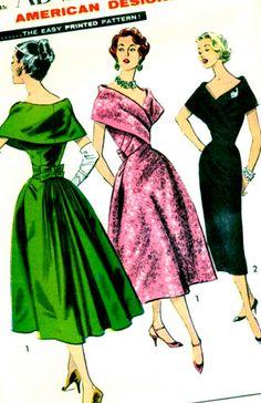 "Vintage 50's Pattern Advance 8507 - RARE - STUNNING Designer Helena Barbieri Draped ""Fichu"" Dress - Bust 36"