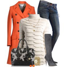 """Orange, Grey, & Cream"" by pinkroseten on Polyvore"