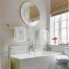 Bathroom Roman Shade In Light Blue Print