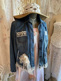 Excited to share this item from my #etsy shop: Womens, womens clothing, Jean jacket, denim jacket, lace denim jacket, shabby chic clothing, upcycled clothing Shabby Chic Jeans, Shabby Chic Clothing, Upcycled Clothing, Refashioned Clothing, Clothes Refashion, Denim And Lace, Vintage Lace, Chic Outfits, Boho Fashion