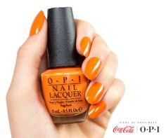 """Well, """"Orange You Stylish."""" #OPICokeStyle (European exclusive shade!) http://www.opiuk.com/store/coca-cola-collection/orange-you-stylish"""
