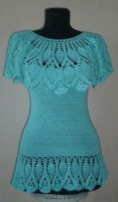 Crocheted shirt with pineapple pattern :))
