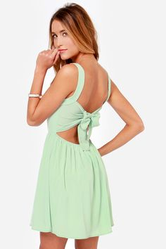 Tie by Night Backless Mint Green Dress - kind of obsessed with this dress