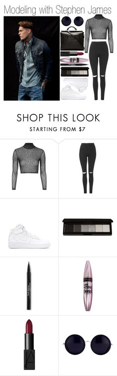 """Modeling with Stephen James"" by outfitsforever00 ❤ liked on Polyvore featuring Oh My Love, Topshop, NIKE, shu uemura, Trish McEvoy, Maybelline, NARS Cosmetics, Linda Farrow and 3.1 Phillip Lim"