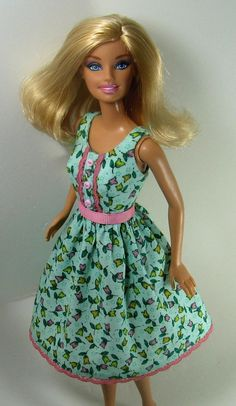 Barbie Doll Clothes  Bluegreen Floral Print by OhSoChicDollClothes, $9.50