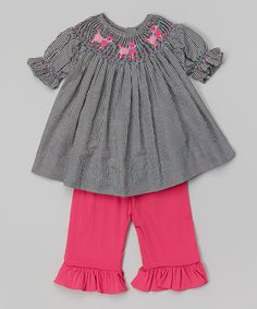 Smocked or Not Black Gingham Poodle Smocked Top & Pink Pants - Infant & Toddler on #zulily today!