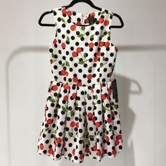 Cereza Dress white mini skirt A-line dress with Cherry and Polka Dot pattern with a light stain on the front Style Mafia Dresses