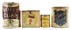 LOT OF 4: COUNTRY STORE TINS.