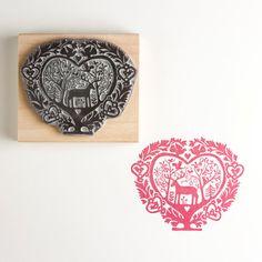 Christmas Rubber Stamp Folk Heart