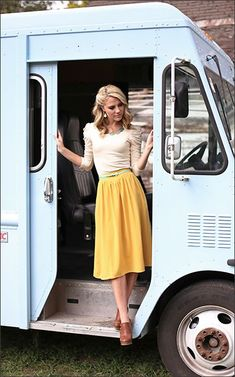 Modest Dresses---vintage, glamourous, and oh-so-sweet! Love the yellow chambray skirt and the lace-y
