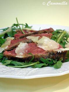 tagliata di manzo con rucola e grana ( meet with grana cheese and salad)