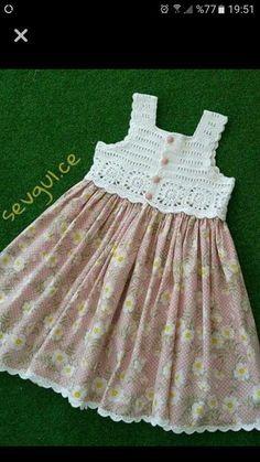 Frock Patterns Baby Patterns Crochet Patterns Crochet Dress Girl Knit Dress Crochet For Kids Crochet Baby Heirloom Sewing Baby Dress Crochet Yoke, Crochet Fabric, Crochet Girls, Crochet Baby Clothes, Filet Crochet, Crochet For Kids, Diy Crochet, Baby Tulle Dress, Diy Dress