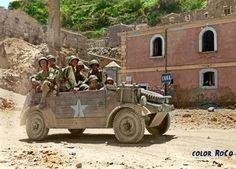 A German Kübelwagen used by men of the US 1st Infantry Division in Enna, Sicily, sometime soon after July 21, 1943