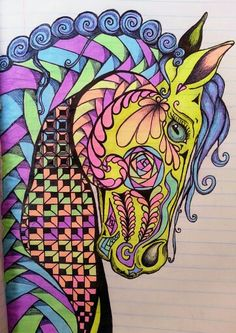 Horse Zentangle♥  Hierdie Zentangle kunsvorm is nou vir jou interessant hoor !  Ek ken net doodle.