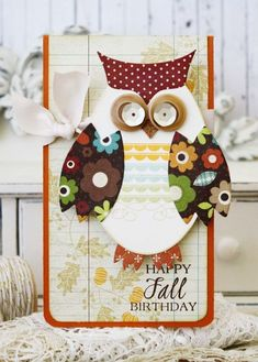 Happy Fall Birthday Card by Melissa Phillips for Papertrey Ink (August 2014)