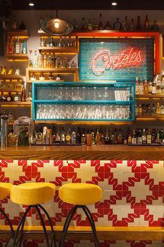 A bright and playful refit of this popular Mexican cantina. Pops of pink, peacock green and rustic timber bring warmth and colour to this compact. Mexican Restaurant Design, Colorful Restaurant, Mexican Interior Design, Mexican Bar, Deco Restaurant, Pub Interior, Bar Interior Design, Restaurant Interior Design, Cafe Design