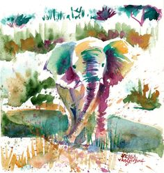 http://www.etsy.com/listing/158279274/original-watercolor-painting-african. Just the elephant would be a cool tatt.