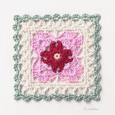 Ravelry: Crochet Square Motif pattern by Anabelia Handmade Crochet Quilt, Crochet Blocks, Crochet Home, Crochet Motif, Ravelry Crochet, Granny Square Crochet Pattern, Crochet Stitches Patterns, Crochet Squares, Granny Square Häkelanleitung