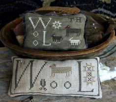 Primitive Cross Stitch Pattern Wool Pin Keeps by FiddlestixDesign, $11.00