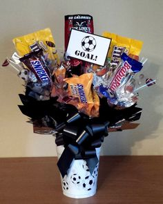 Soccer candy bouquet in a cup for the soccer coach