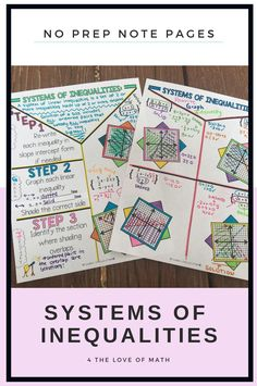 Systems of Inequalities No Prep Note Pages Teaching Geometry, Math Notes, Secondary Math, Math Teacher, Interactive Notebooks, Math Resources, Student Learning, Anchor Charts, Middle School