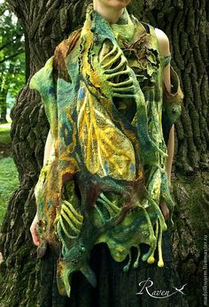 """Купить шарф палантин """"лес Фангорн"""" - зелёный, лес, лесной, палантин ручной работы"""