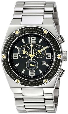 Swiss Legend Men's 40025P-11-BB-GA Throttle Analog Display Swiss Quartz Silver Watch >>> Read more at the image link.